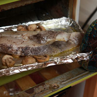 蘑菇烤柠檬鲜鱼