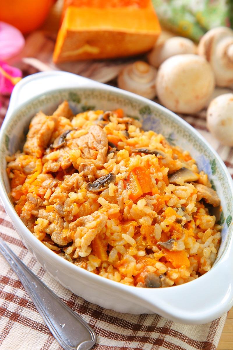 南瓜蘑菇猪肉炖饭